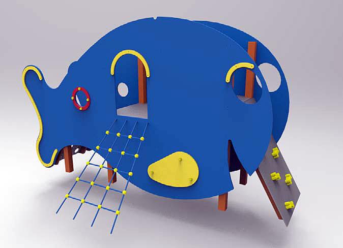 Zestaw zabawowy Wieloryb wykonany z drewna klejonego na stalowych kotwach, korpus wykonany ze sklejki wodoodpornej lub płyty HDPE