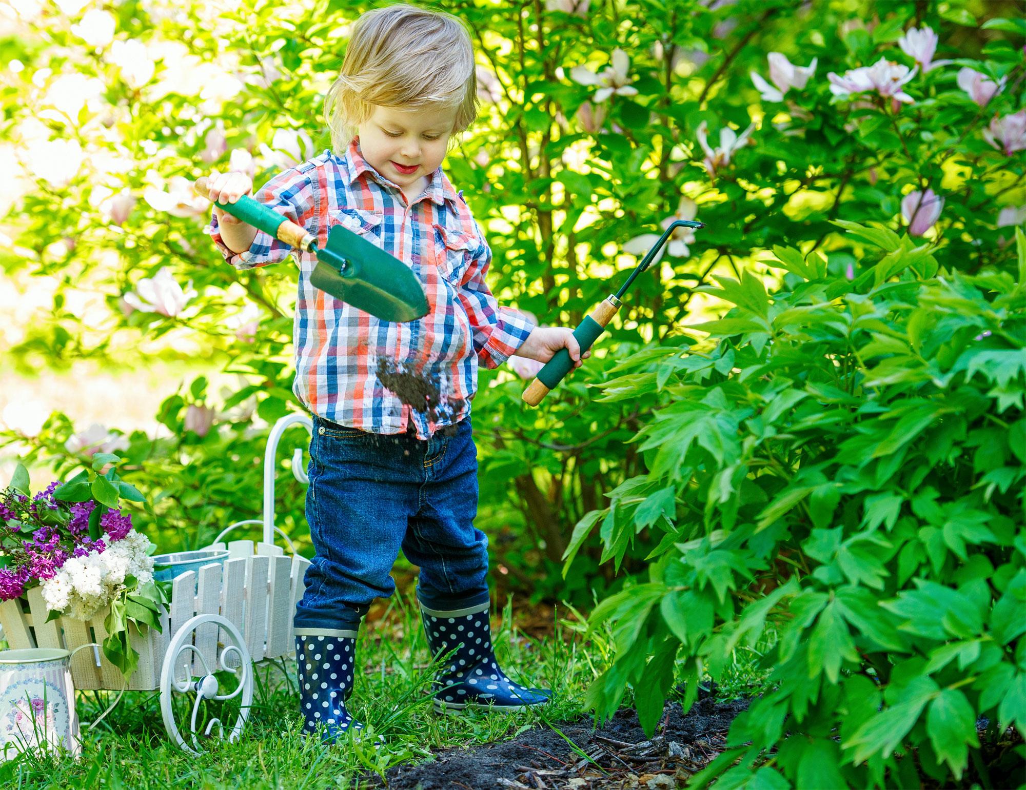 Prace ogrodowe dla dzieci w przedszkolu